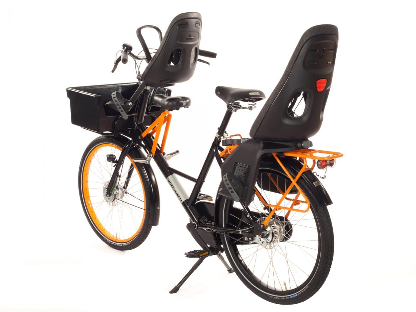 The WorkCycles Fr8 Junior, Yepp Mini, MT crate child (for Yepp mini), Qibbel Rear Seat