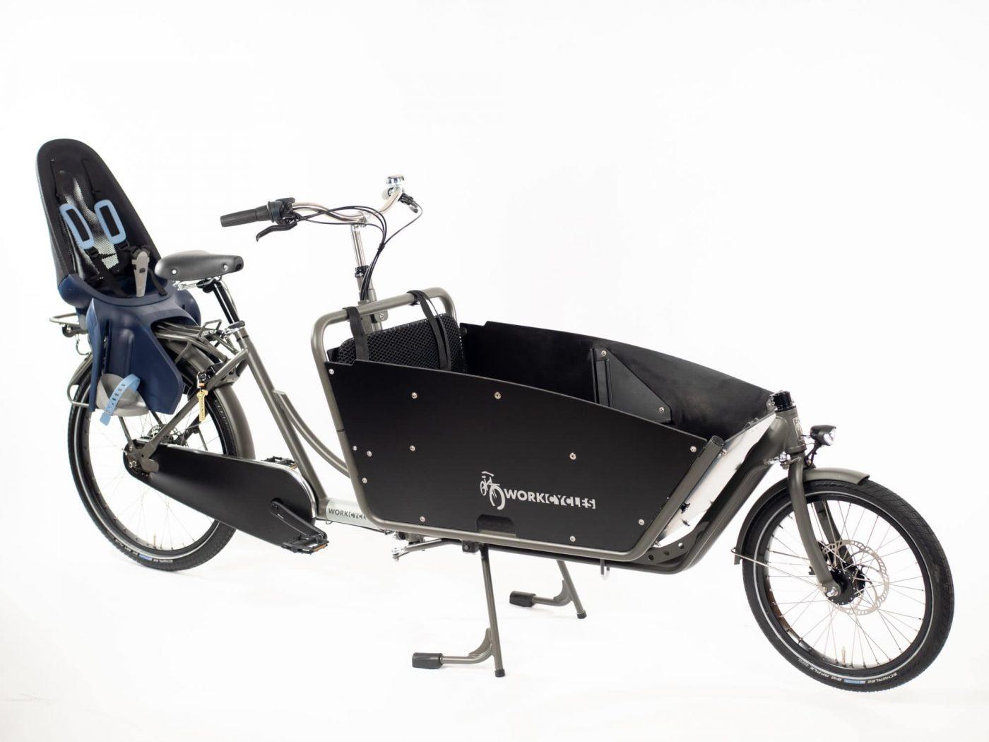 WorkCycles Kr8 bakfiets, child transport bike, dutch city bike, Qibbel Jr Seat
