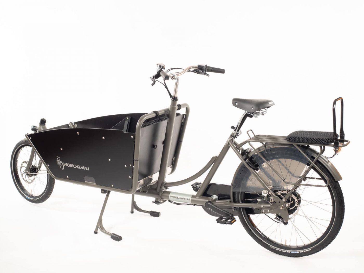 WorkCycles Kr8 bakfiets, child transport bike, dutch city bike, Fr8 Single Seat, Large cargo box with kiddy bench