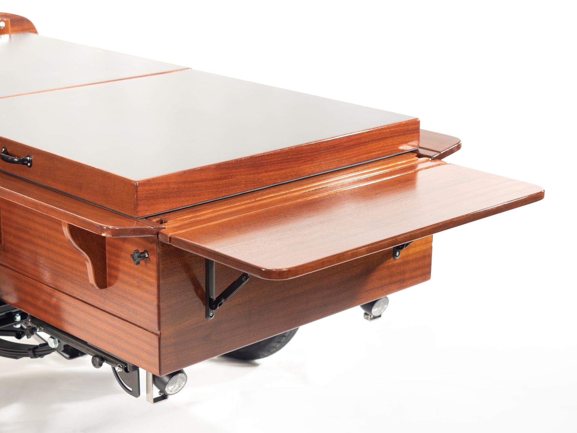 Solid mahogany cargo box on leaf springs