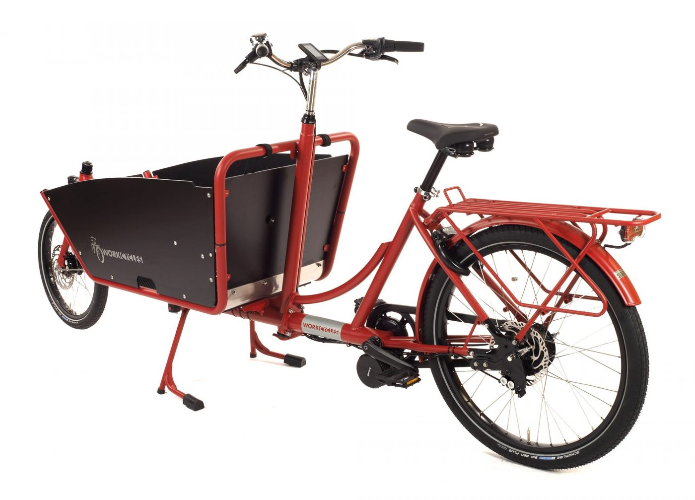 WorkCycles Kr8 MAD bakfiets, child transport bike, rear carrier, dutch e bikes